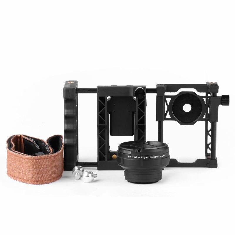 2in1 37mm grand Angle lentille Macro Lentes monture avec ceinture poignée ergonomique objectifs de caméra pour iphone 7 Samsung S7 Huawei P6 Meizu LG