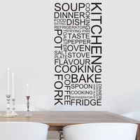 Kitchen Wall Sticker Cooking Dinner Wall Decal Quote Vinyl Creative Home Decoration Mural Home Decor