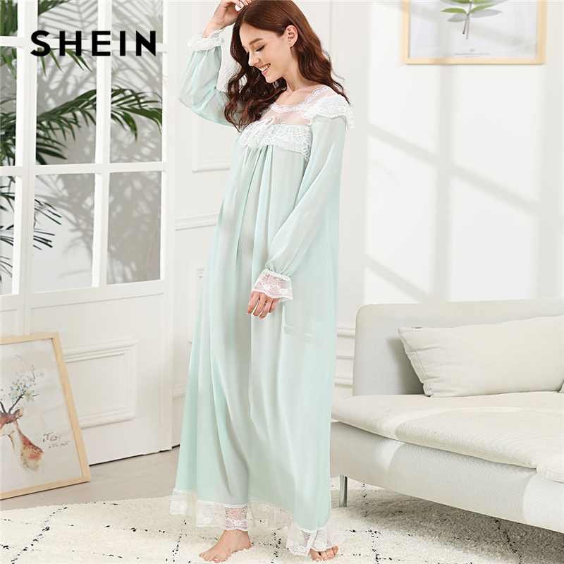 SHEIN Green Elegant Lace Trim Knot Detail Semi Sheer Square Neck Long Sleeve Night Dresses Autumn Women Casual Sleepwear