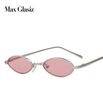 Max Glasiz Hot Sales Oval Óculos De Armação De Metal Homens E Mulheres Tamanho Pequeno óculos de Sol Lense Óculos de Sol Feminino Vintage Vermelho UV400