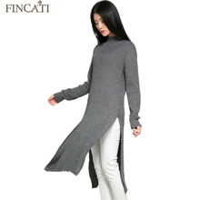 Fincati Women s Autumn Winter Mid Turtleneck Thicken Cashmere Blend Asymmetrical Notched Hem Knitted Pullover Dresses