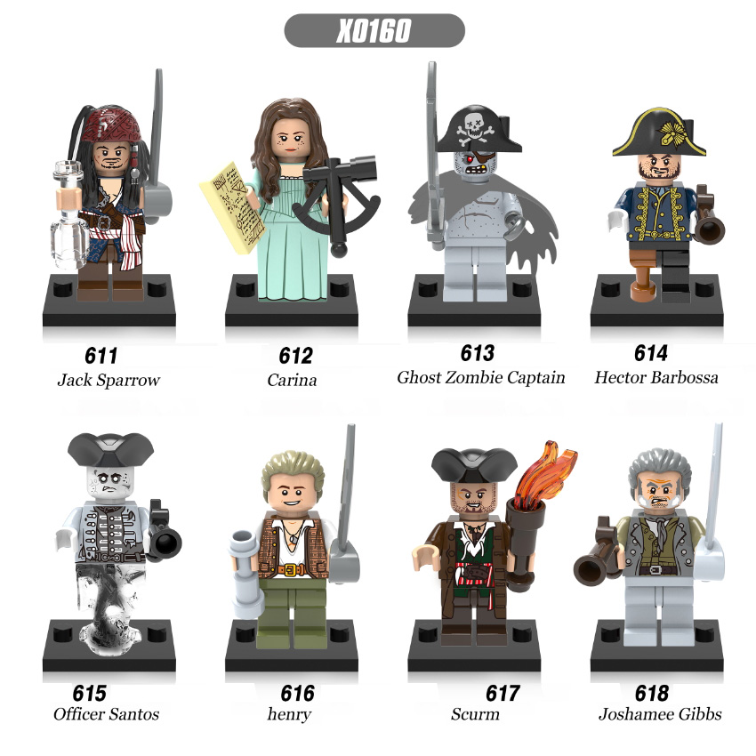 Single Sale Pirates Of The Caribbean Jack Sparrow Ghost Zombie Captain Hector Barbossa Building Blocks Children Gift Toys X0160