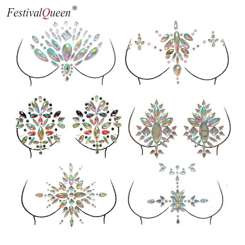 a1f8175fca FestivalQueen Temporary Adhesive breast Jewelry Party Gems Rhinestone Flash  Tattoos Body Stickers Make Up Jewels for Women