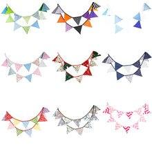20 + estilos banderines-3,2 M tela de algodón de impresión pancartas Vintage banderines guirnalda para la ducha del bebé jardín decoración para fiesta de boda