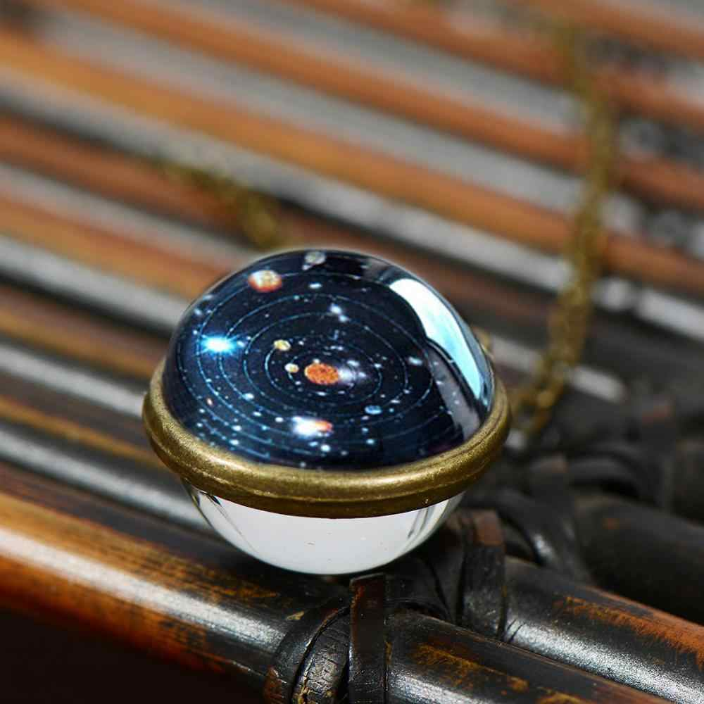SIAN винтажная солнечная система ожерелье со стеклянным шариком планетарные орбиты галактика космическое время драгоценный камень подвеска ручной работы цепь Астрономия украшения