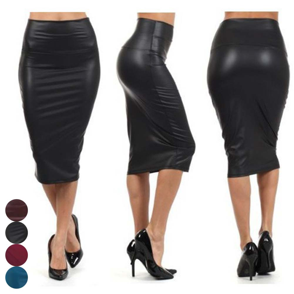 2019 Women High Waist Faux Leather Pencil Skirt Bodycon Skirt Solid Sexy OL Office Skirts LF88