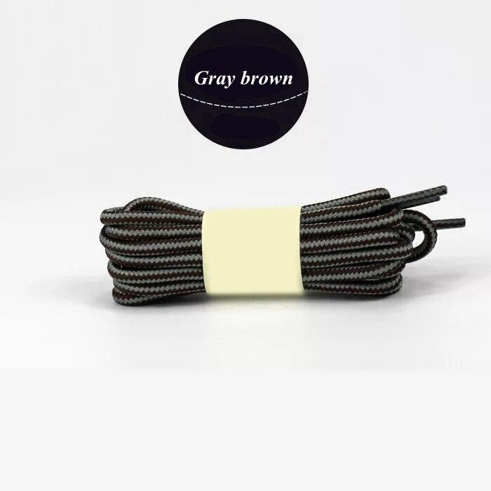 1 пара колготок в полоску двойной Цвет шнурки ботинки на открытом воздухе спортивные шнурки хлопок Круглые Шнурки 18 Цвета Длина 70 см, 90 см, 120 см 150 см - Цвет: Gray brown