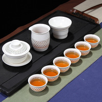 Factory direct sales of honeycomb gold wire cover bowl (large) Kung Fu tea set gift box wholesale customization