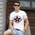 Men t shirt Print Mens tshirt Short Sleeve T-shirt  O-neck White Jersey  Tee shirt Homme Fashion Extended Fitness Slim Fit Trend