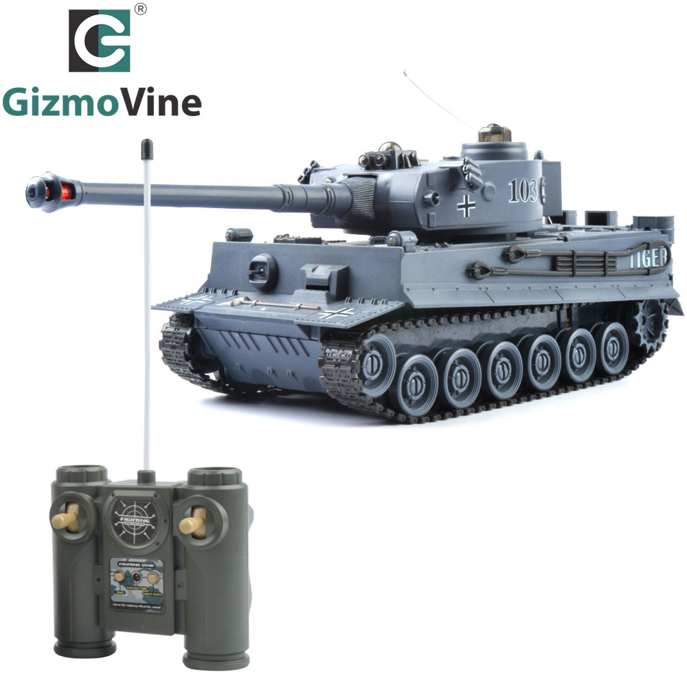 GizmoVine RC Tank Germany Tiger 103 Fighting Battle Tank Remote Control Toys with Musical and Flashing for Child Kids Boy Gift 2 4g huanqi 516c rc infrared battle tank automatic shows tank remote control toys tank for children gift 1pcs lot