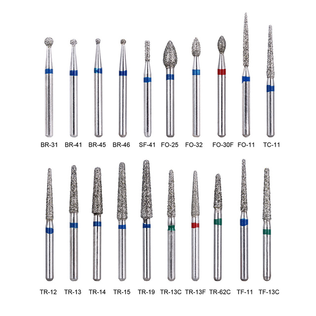 Fresas de diamante Dental de alta velocidad, 200 Uds./40 cajas de fresas de diamante Dental de diámetro, de alta velocidad para dentista, tamaño medio FG 1,6 M