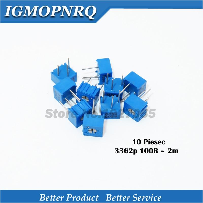 10 pièces 3362P résistance série 101 201 501 102 202 502 103 Trimpo Potentiomètre Réglable 3362 500R 1K 2K 5K 10K 20K 50K 100K