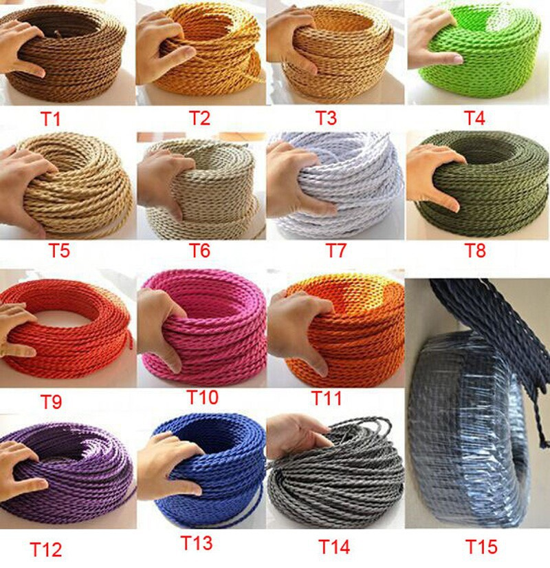 FREE Shipping 50mlot 2x0.75mm Textile Electrical Wire Color Braided Wire Fabric Covered Electrical Power Cord Fabric Wire (3)