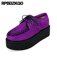 Women Platform Suede Thick Sole Creepers Purple Muffin Blue 10 Yellow Wide Fit Shoes Ladies 11 Lace Up Velvet Harajuku Japanese