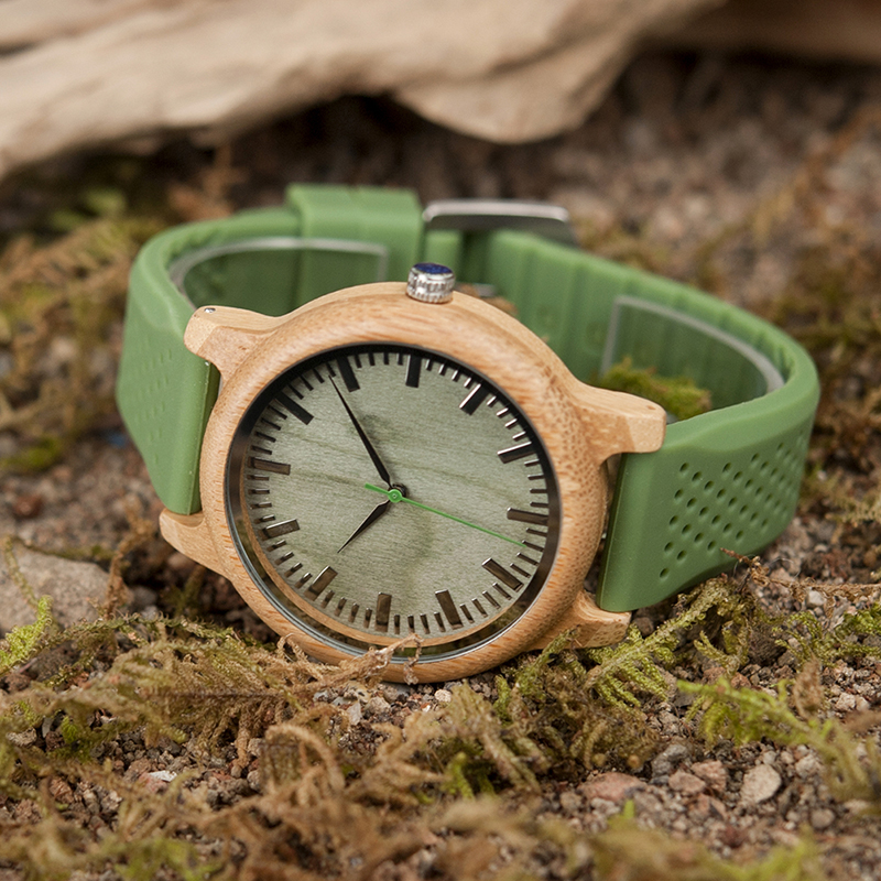 BOBO BIRD Bamboo Wooden Watch Men Quartz Watch with Green Silicone Strap Extra Band Men s