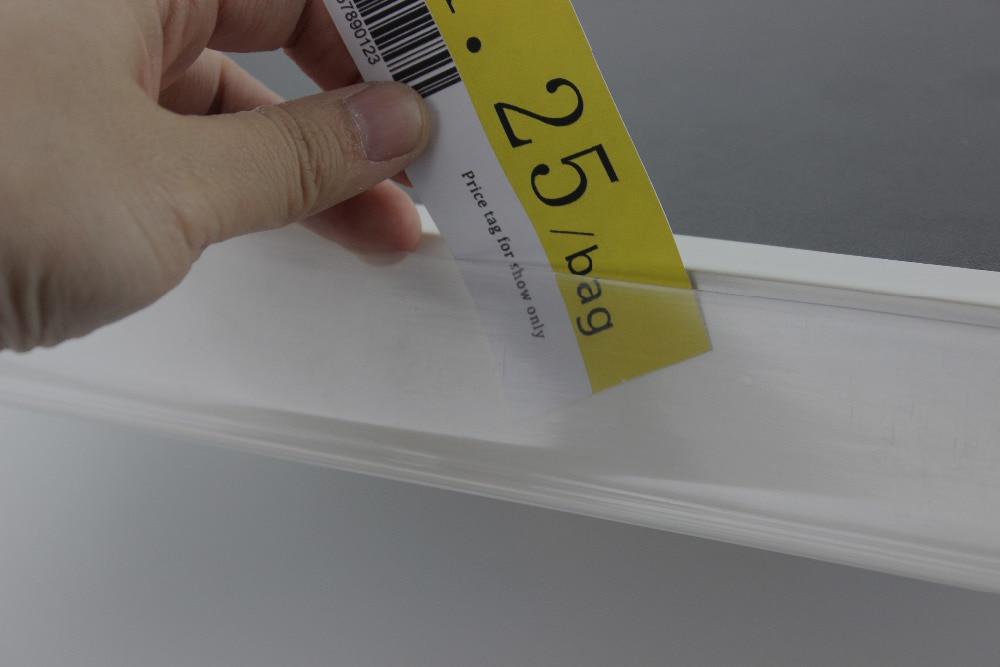 42 millimetri di larghezza PVC bianco trasparente prezzo di scansione frame L angolo adesivo canale scaffale supporto del segno striscia dati promozione scaffale talker-in Cornice da Casa e giardino su  Gruppo 3