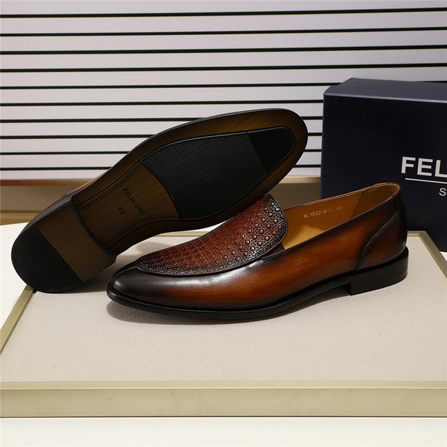 FELIX CHU Men's Brown Black Dress Shoes Slip-On Wedding Party Loafer Apron Toe Genuine Leather Print Man Formal Shoes Size 39-46