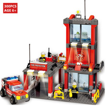 300Pcs City Fire Fight Station Building Blocks Sets Firefighter Figures LegoINGs Creator Bricks Toys for Children Christmas Gift city big size engineering fire brigade figures building blocks sets compatible legoings duplo bricks kids toys christmas gift