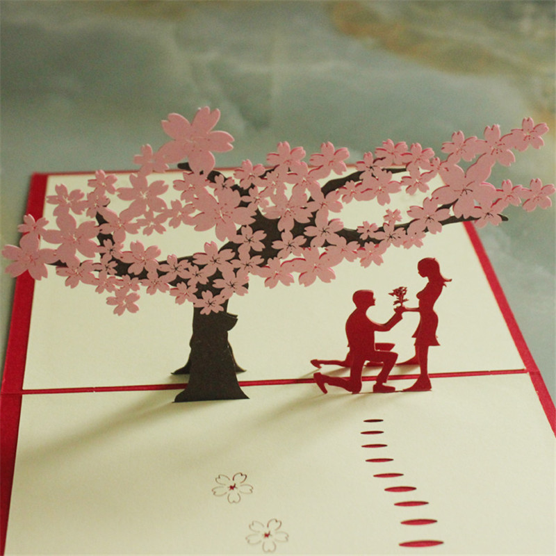 Kreativní dárky 3D Pop Up Card Pozdrav & dárek Ručně vyráběné karty v Red Cherry Tree s Lover doprava zdarma 13 * 16cm