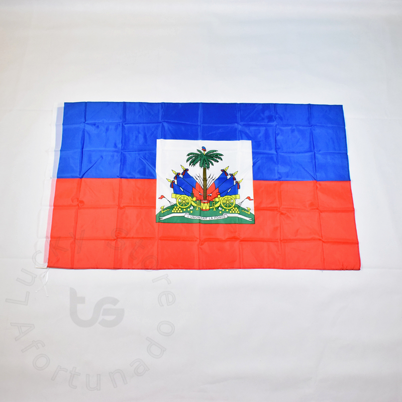 Гаити туы 90х150 см 100% полиэстер 2 жағында басылған ұлттық ту Гаити спортының және үйге арналған сәндік жалаулар мен баннерлер
