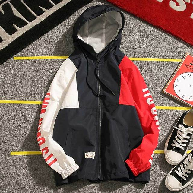 2017 new spring Japanese big code men and young people multi-color stitching letters printed hooded coat