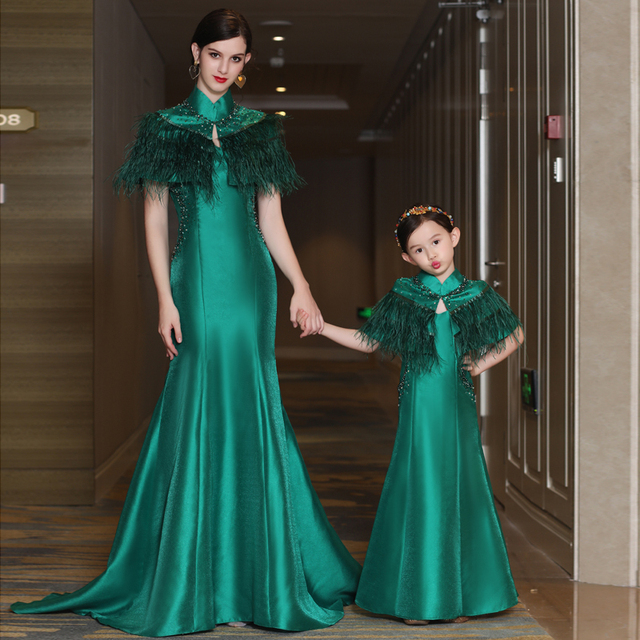 Matching Mother Daughter Wedding Dresses Family Outfits Formal Wear Party Evening Pregnant Women Mermaid