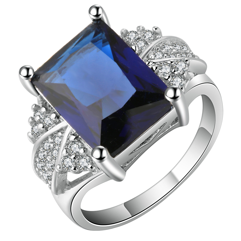 Luxury blue Square Ring Fashion White & Blue Silver Filled Jewelry men engagement Rings For Women Birthday Stone Gifts