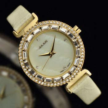 Top Julius Lady Women's Wrist Watch Shell Big Fashion Hours Dress Bracelet Rhinestone Leather School Girl Birthday Gift JA-512