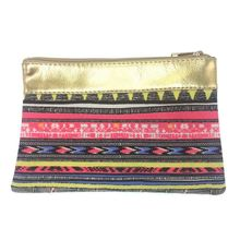 KANDRA Ethnic Patchwork Gold Tone Leather Chevron Cosmetic Bag 2019 Watermelon Fruit Print Canvas Travel Pouch Pineapple