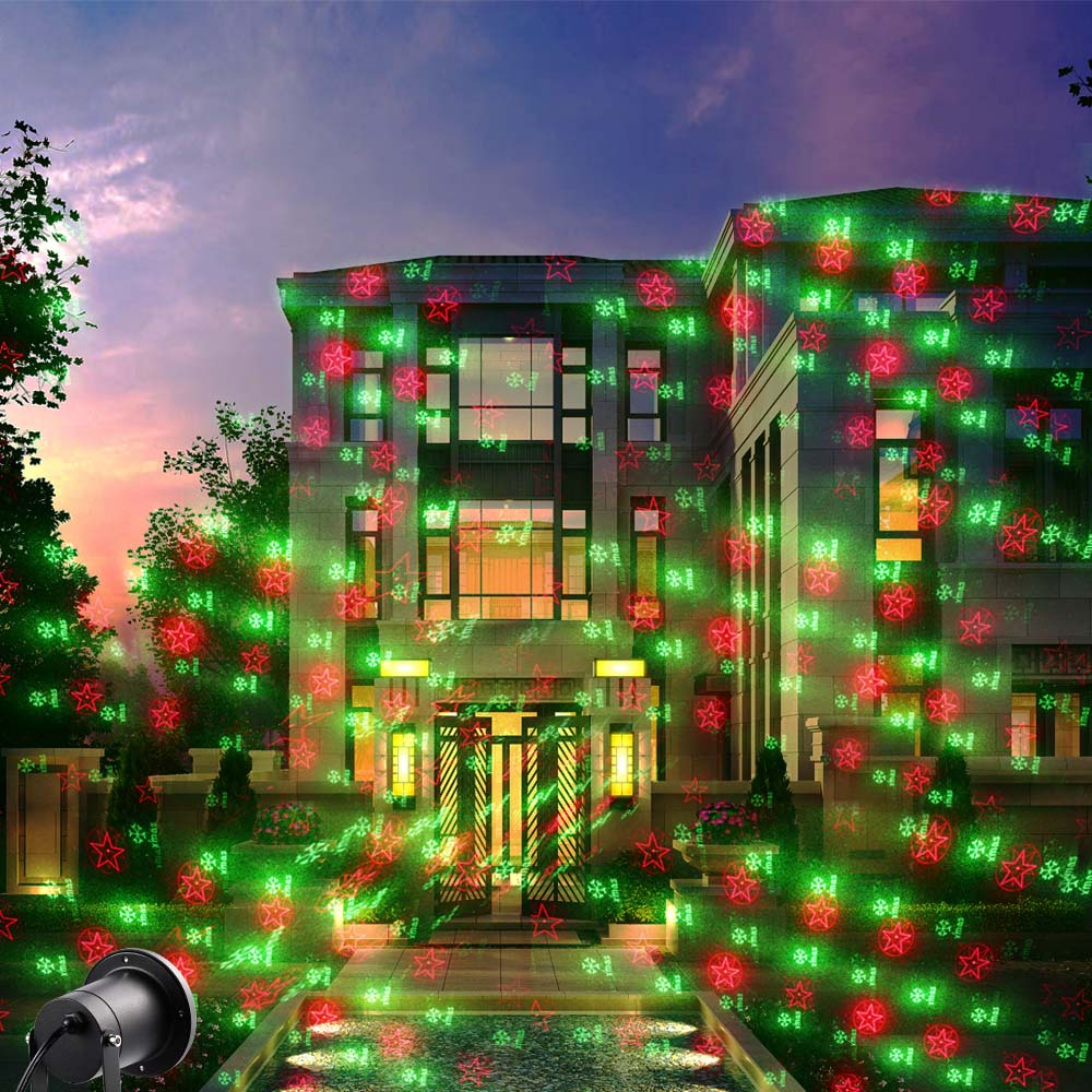 christmas lights outdoor laser spotlight waterproof 20 pattern outdoor laser projector light christmas decorations for home club in stage lighting effect - Laser Lights Christmas Decorations