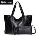 2Pcs/Set Vintage Handbags Women Messenger Bag Female Purse Solid Shoulder Office Lady Casual Tote Genuine Leather Top-Handle Bag