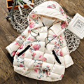 Зима дети хлопок цветочные куртка девушки способа с капюшоном пальто детская куртка теплая и пиджаки дети повседневная пиджаки 16N1103
