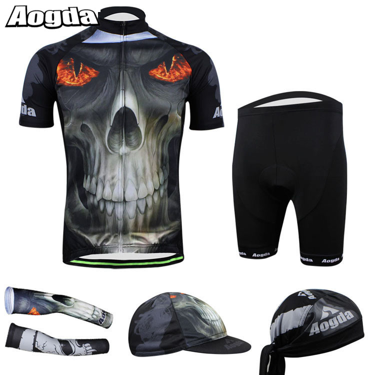 AOGDA Bike Skull Outdoors Sports Clothing Accessories Suit GEL Pad Cycling Jersey T Shirt Bicycle Hats Armwarmers Sleeves Set