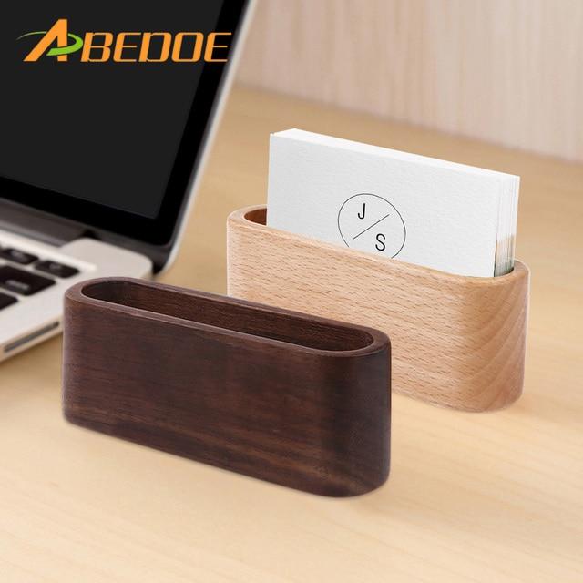 Abedoe 1pcs Desktop Name Card Holder Organizer Wooden Box Business