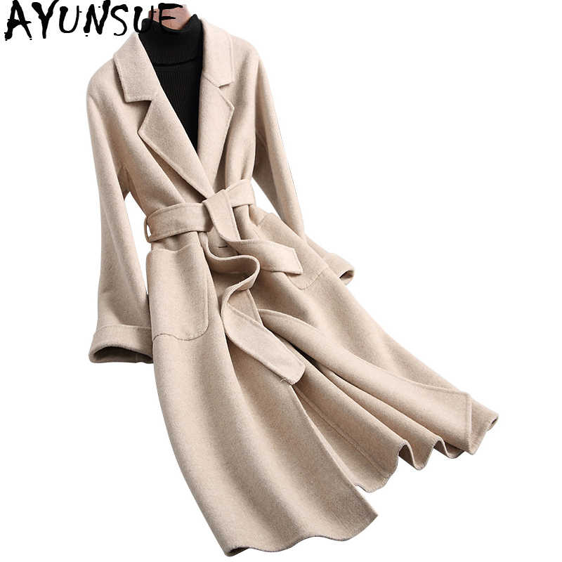 AYUNSUE Winter Warm Coats Sheep Wool Coat Women 2019 Fashion Long Double-sided Woolen Jackets With Belt manteau femme YSA887006