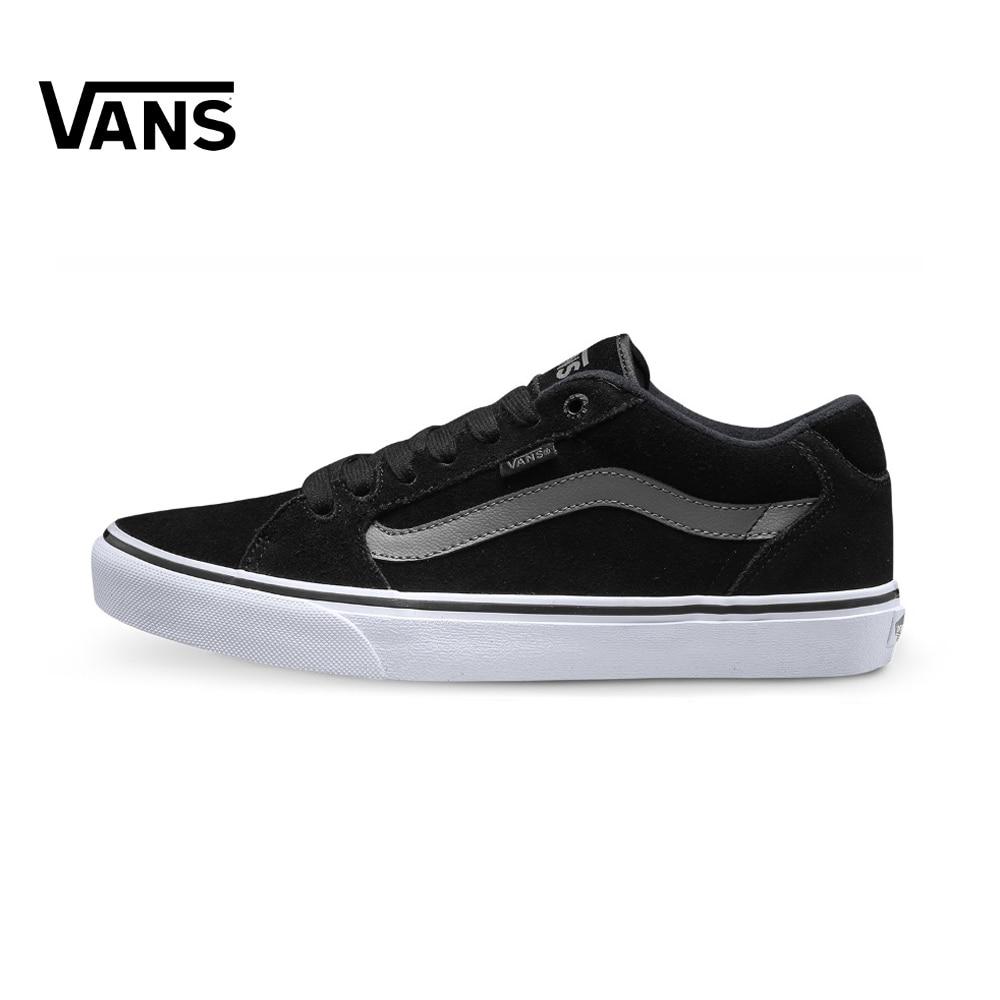 Original Vans Black Low-Top Men's Skateboarding Shoes Sport Shoes Sneakers Outdoor Classique Comfortable Breathable Designer Top цена