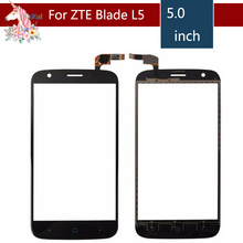 5.0 For ZTE Blade L5 LCD Touch Screen Digitizer Sensor Outer Glass Lens Panel Replacement 4 0 for zte blade l110 lcd touch screen digitizer sensor outer glass lens panel replacement