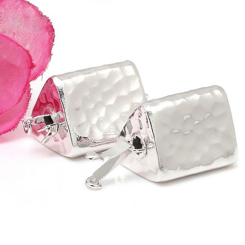 JOYMARK 14x25mm Triangle 925 en argent Sterling boîte fermoir connecteur perle Bracelet collier bijoux accessoires SC-BC252 - 4