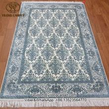 Yilong 4'x6 'top modelo azul turquía carpet alfombra hecha a mano de seda anudada a mano (900a4x6)