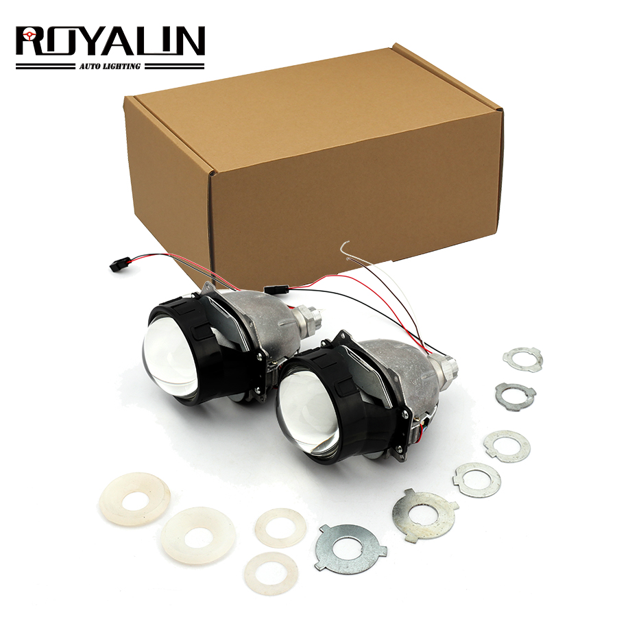 ROYALIN Bi LED Projector Lens Strong Power 3.0 Inch Hi/Lo Beam Headlight Car Styling For H1 H4 H7 9005 9006 Universal Auto Lamps