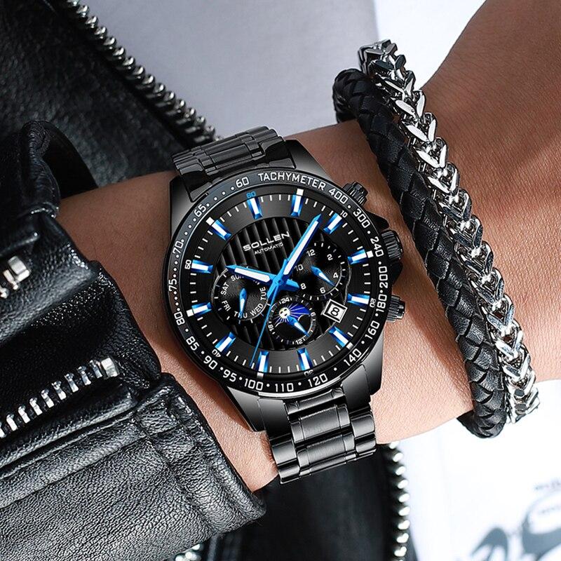 Switzerland Luxury Sport Black Steel Clock Men Automatic week month Luminous Military Mechanical Watch Waterproof Mens Clock|Mechanical Watches| |  - title=