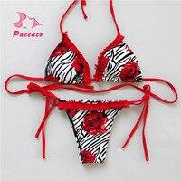 PACENT Micro Brazilian Bikini Thong Set Rose Zebra Print Sexy Women S Swimsuit Bandeau Swimwear Female