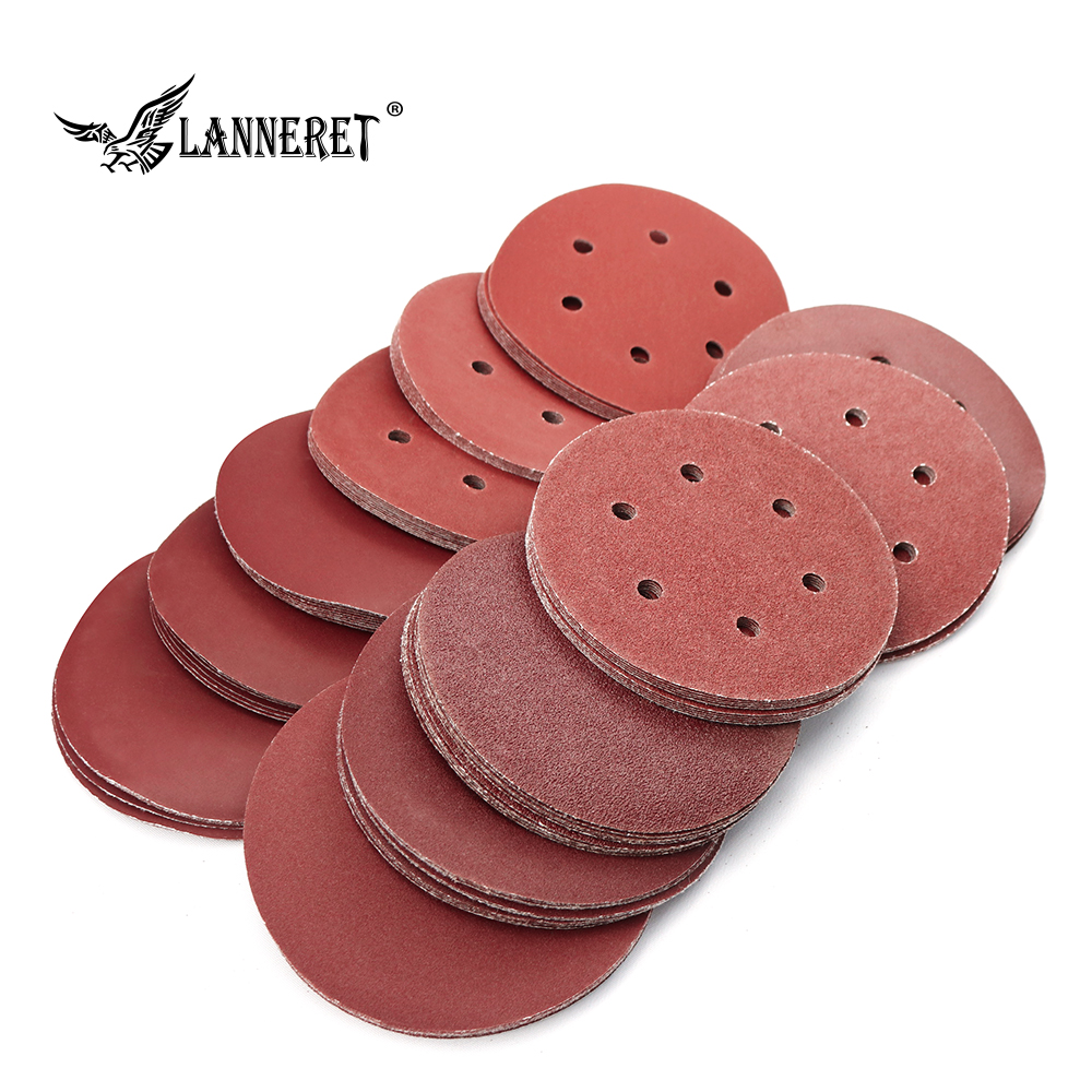 LANNERET 150MM 6inch Polishing Sanding Disc Sandpaper Assorted 60/80/120/180/240/320 Grit For Power Random Orbit Sander Polisher