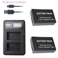 2PCS LPE17 LP E17 LP E17 Digital Camera Battery + USB LCD Charger for Canon EOS M3 M5 M6 Rebel T6i T7i EOS 77D 750D Batteries