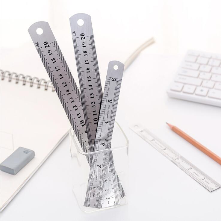 1 Piece 15cm 20cm Stainless Steel Metal Straight Ruler Maths Geometry Study Tool Double Sided Measuring School Stationery