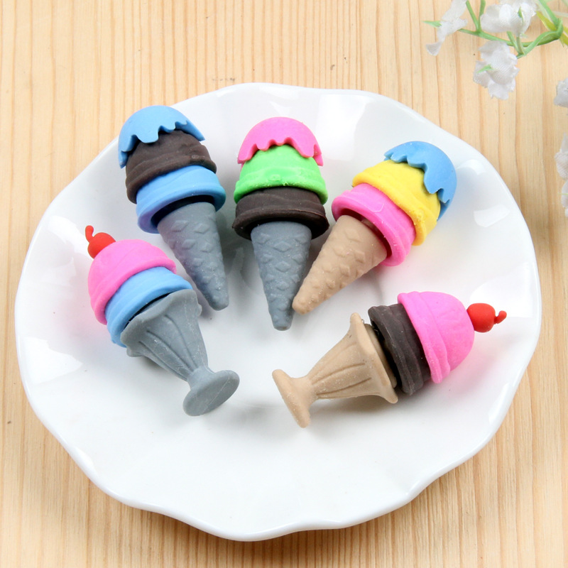 Coloffice Random Color Mini Cute Ice Cream Can Get Separate Rubber Eraser Set Stationery School Office Supplies Kids Gift 1PC