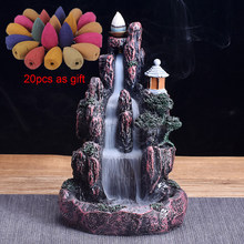 High Mountain Waterfall Backflow Incense Burner LED Glowing Ball And 20Pcs Incense Cones Home Incense Holder(China)