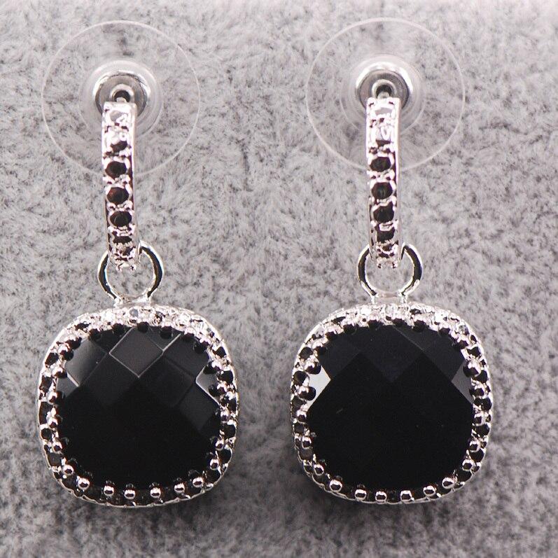 Brincos de Cristal de Prata Novo Preto Onyx Mulher Esterlina Te452 925