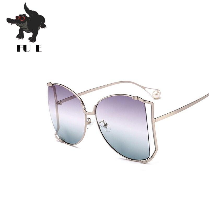 24388c3a30176 FU E Nouvelle Mode lunettes de Soleil Femmes Grand Cadre En Métal Cadre  lunettes de soleil Brand Design Perle Miroir Jambe Rétro Les lunettes de  soleil 1845