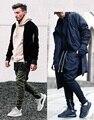 Мода 2017 запад брюки бренд Санкт Manshion Боковой Молнии мужская тонкий Страх божий Повысить Случайные jogger Брюки 2 цвета